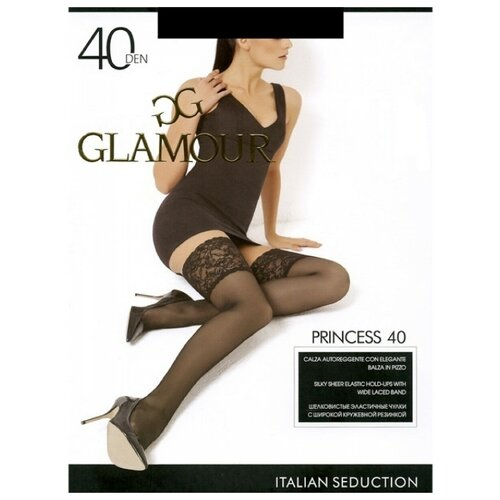 GLAMOUR Чулки Princess 40 AUT (nero, 3) (с круж. резинкой на силикон.основе)