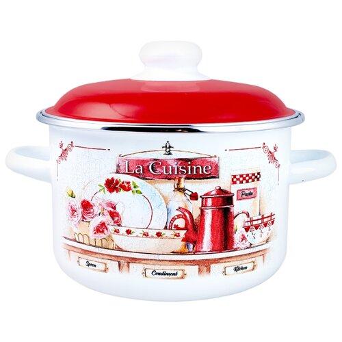 Кастрюля Appetite La Cuisine 3 л, белый/красный кастрюля appetite apple 3 л черный красный