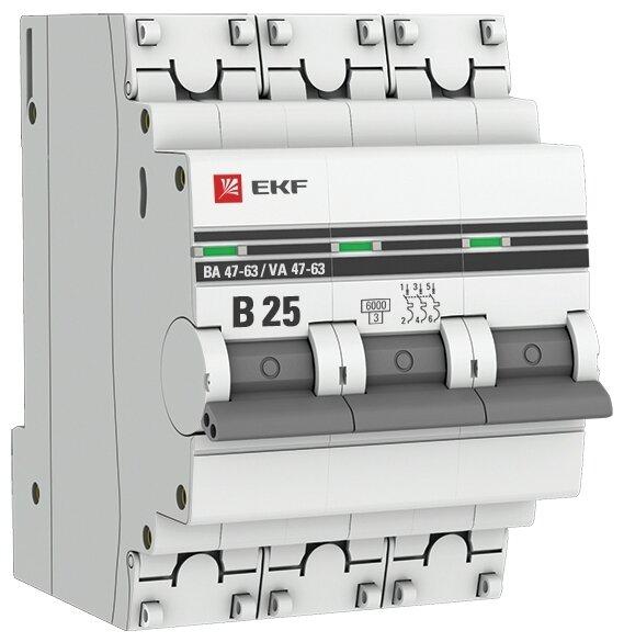 Автоматический выключатель EKF ВА 47-63 3P (B) 6kA
