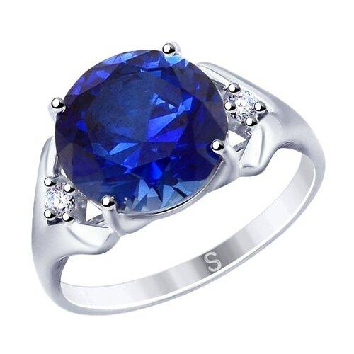 SOKOLOV Кольцо из серебра с синим корундом (синт.) и фианитами 88010052, размер 17.5