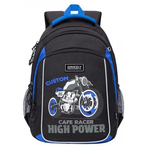 Купить RB-152-3 Рюкзак школьный (/3 черный - синий), Grizzly, Рюкзаки, ранцы
