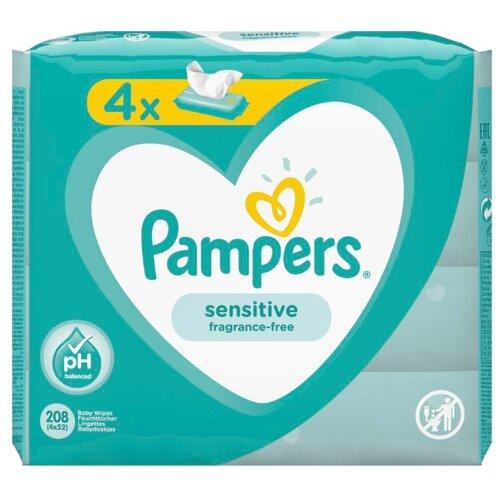 Влажные салфетки Pampers Sensitive, липучка, 208 шт.