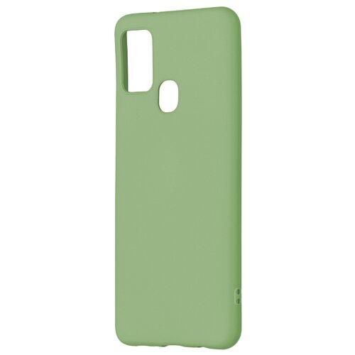 Матовый силиконовый чехол-накладка с бархатной подкладкой из микрофибры PERO для Samsung A21s / Silicone Case на Самсунг Галакси А21с  зеленый