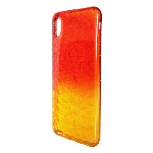 Krutoff / Накладка силиконовая Crystal Krutoff для iPhone X/XS (Айфон Икс/ИксС) желто-красная