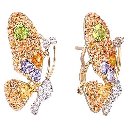 JV Серьги из золота 585 пробы с перидотами, бриллиантами, сапфирами, танзанитами и цитринами RE7016-OS-CT-PD-TA-YG