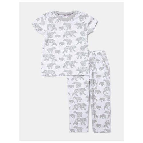 Пижама KotMarKot размер 122, белый/серый, Домашняя одежда  - купить со скидкой