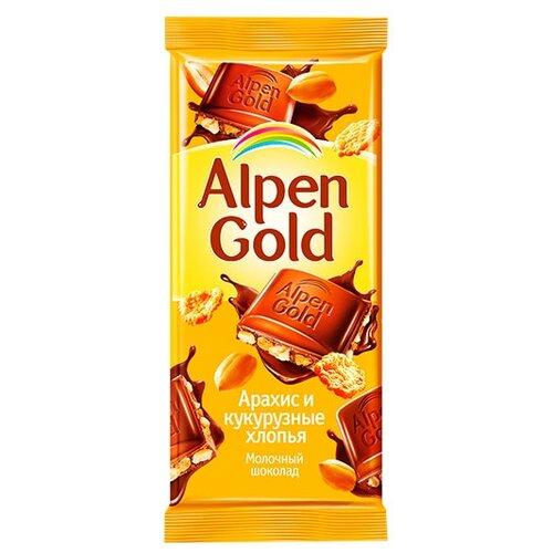alpen gold шоколад молочный с соленым арахисом и крекером 5 шт по 85 г Шоколад Alpen Gold молочный с арахисом и кукурузными хлопьями, 85 г