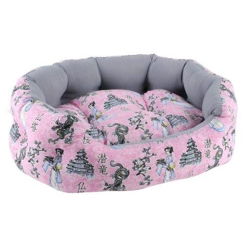 Лежак для собак и кошек Fauna International Tokyo Pink L 62х46х18 см розовый/серый