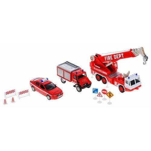 цены Набор техники Welly Пожарная служба 10 штук (99610-10B) красный