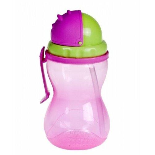 Поильник с трубочкой Canpol Babies 56/113, 370 мл розовый/зеленый