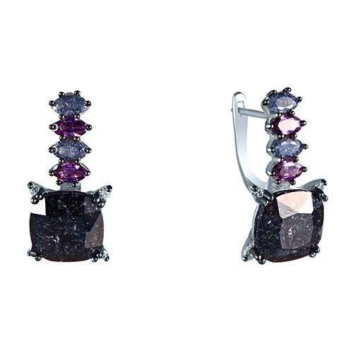 JV Серебряные серьги с фианитом, ювелирным стеклом AES34966W-SR-US-007-WG