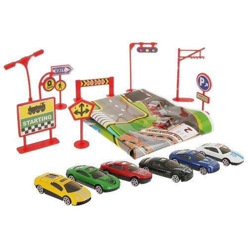 Фото - Набор машин Junfa toys 933-K6 1:64 белый/черный/красный/синий/желтый/зеленый набор посуды тигрес ромашка 39121 красный желтый зеленый синий