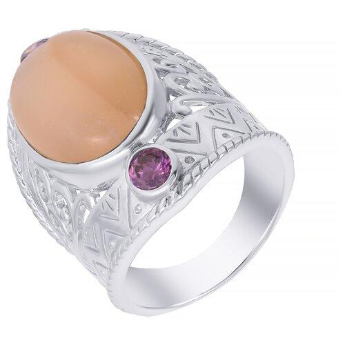 ELEMENT47 Кольцо из серебра 925 пробы с лунным камнем (адулярами) и аметистами 11B-1706_KO_AM_LK_WG, размер 18