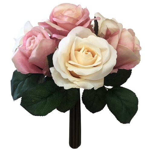 цена на Home Philosophy букет из роз 24 см (FLS404) персиковый/розовый