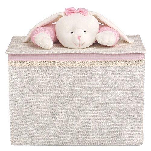 Handy Home Корзина для белья Зайчик 55x32x40 см белый/розовый корзина бельевая handy home решетка д410 ш290 в300 белый