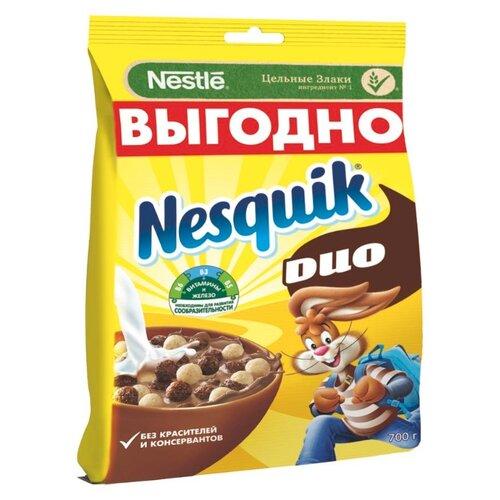 Готовый завтрак Nesquik DUO шоколадные шарики, пакет, 700 г готовый завтрак хрутка шоколадные колечки пакет 210 г