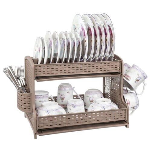 Фото - Сушилка для посуды 2-х ярусная 51х28,5х32 см EL Casa мокка комплект el casa el casa mp002xu0e0zv