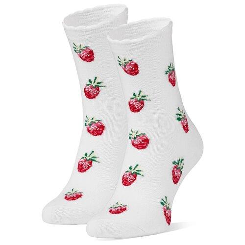 Носки Красная жара Земляничная поляна, размер 36-41, белый/красный платье oodji ultra цвет красный белый 14001071 13 46148 4512s размер xs 42 170