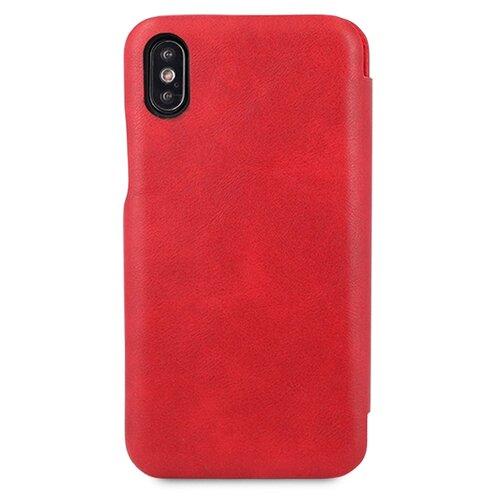 Кожаный чехол для Аpple iPhone X и XS / Чехол Книжка на Эпл Айфон Х и Хс с кармашком для карт (Красный)