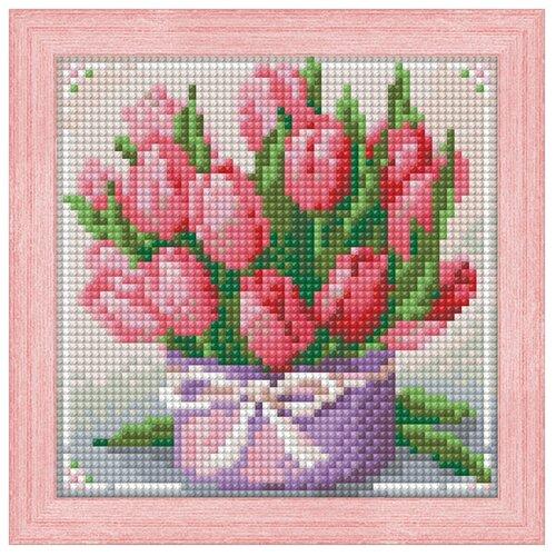 Алмазная живопись Набор алмазной вышивки Тюльпаны в подарок (АЖ-1449) 15х15 см