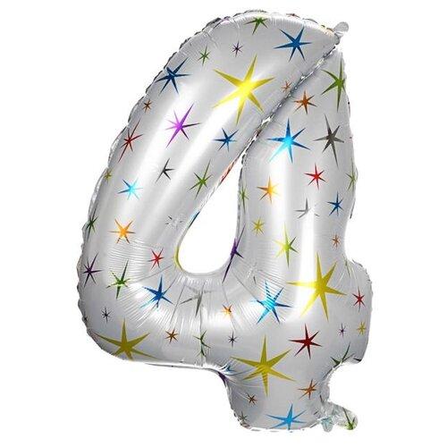 Фото - Шар фольгированный Страна Карнавалия 40 Цифра 4, разноцветные звезды (4640237) воздушный шар страна карнавалия цифра 5 сиреневый