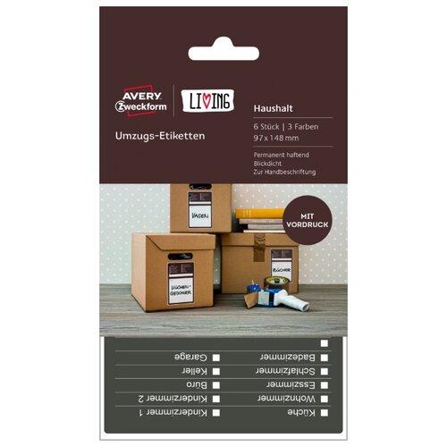Фото - Самоклеящиеся этикетки для коробок и переезда Living, 97x148 мм, белые, 6 штук этикетки для кухни living 48 мм белые