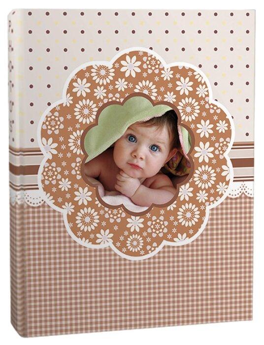 """Фотоальбом BRAUBERG на 100+4 фотографии 10х15 см, твердая обложка, """"Малыш"""", бежевый, 390666"""