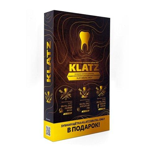 Набор KLATZ: Зубная паста Терпкий коньяк 75 мл + Зубная паста Убойный виски 75 мл + Зубная паста Бунтарский ром 75 мл + Зубная щетка для взрослых, жесткая