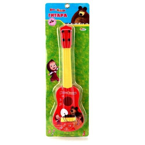 Купить Играем вместе гитара Маша и Медведь с медиатором B1406954-R желтый/красный, Детские музыкальные инструменты