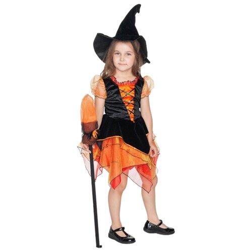 Купить Костюм ВКостюме.ру Волшебная ведьмочка (1027648), оранжевый/черный, размер 134, Карнавальные костюмы