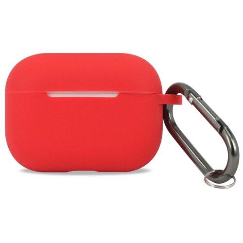 Защитный чехол для Airpods Pro / Силиконовый чехол на Аирподс Про с карабином (Красный)