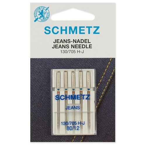 Игла/иглы Schmetz Jeans 130/705 Н-J 80/12 серебристый