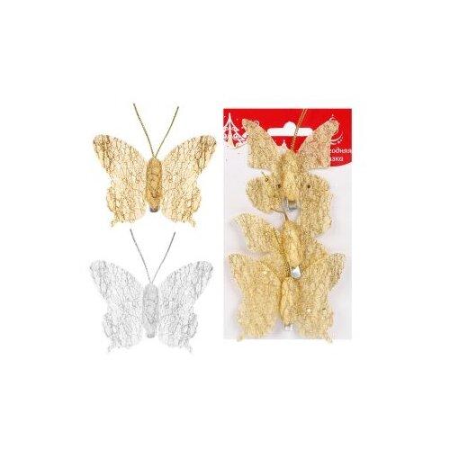 Ел. Укр. Бабочки 8 см., 3 шт, Новогодняя сказка 973657