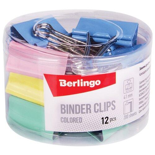 Купить Berlingo Зажимы для бумаг 41 мм BC1241m (12 шт.) разноцветный, Скрепки, кнопки