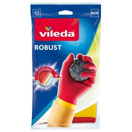 Перчатки Vileda особо прочные Protector, 1 пара, размер M, цвет красный