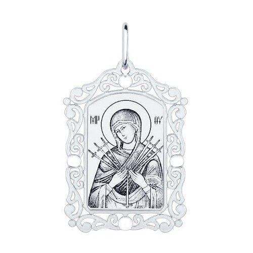 Фото - SOKOLOV Нательная иконка из серебра «Божья матерь семистрельная» 94100230 подвеска иконка божья матерь владимирская с эмалью из красного золота