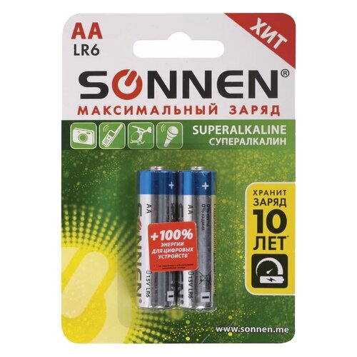 Фото - Батарейка SONNEN AA LR6 максимальный заряд, 2 шт. батарейка energizer max plus aa 4 шт