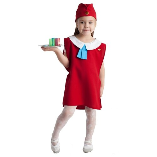 Купить Костюм ВИНИ Стюардесса (ВК-61032), красный, размер 122-128, Карнавальные костюмы