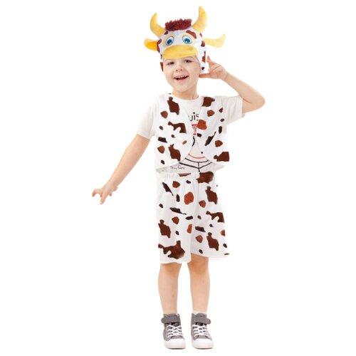 Купить Костюм пуговка Теленок Гаврюша (4036 к-21), белый/коричневый, размер 110, Карнавальные костюмы