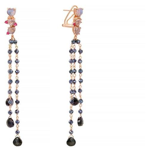 JV Серебряные серьги с кубическим цирконием, лабрадоритом, шпинелью 36357-SR-LB-SP-001-PINK