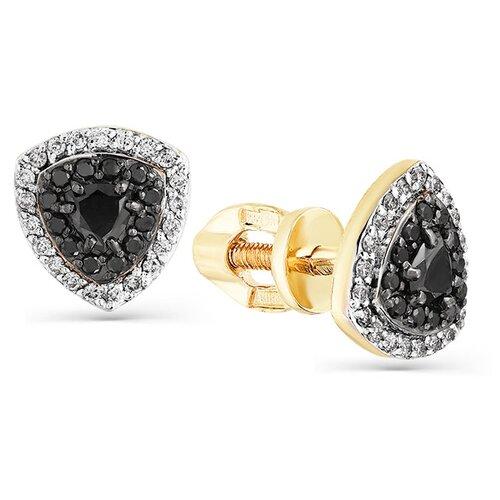 Мастер Бриллиант Золотые серьги с черным бриллиантом, бриллиантом 2-302099-00-55