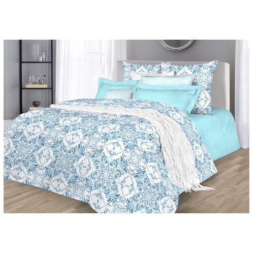 Постельное белье семейное Guten Morgen 884 70х70 см, поплин голубой/белый кпб семейное голубой попугай сирень постельное белье с рисунком