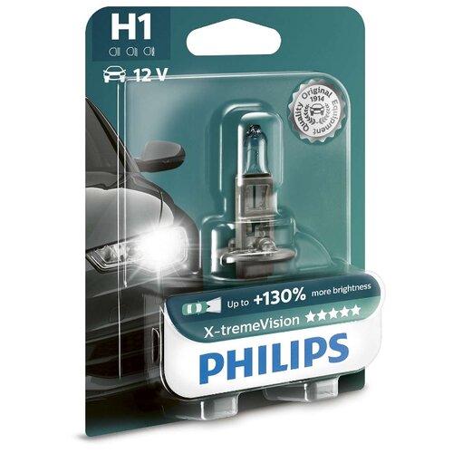 Лампа автомобильная галогенная Philips X-tremeVision 12258XVB1 H1 12V 55W 1 шт. лампа галогенная philips h1 vision plus 12v 55w комплект 2шт 12258vps2