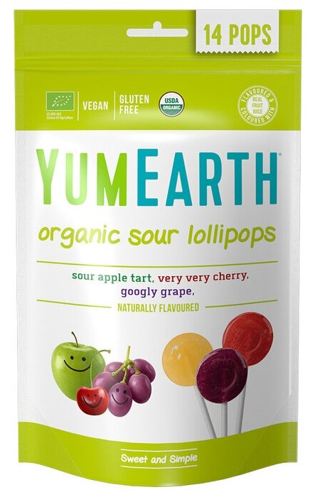 Леденцы на палочке YumEarth Organic Sour Lollipops ассорти 85 г