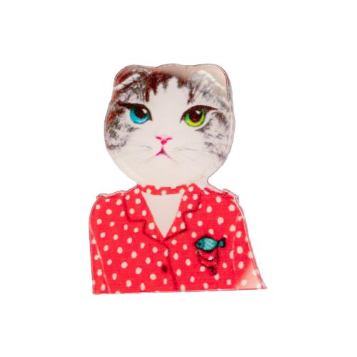 OTOKODESIGN Брошь Кошка в красном платье 51398 фото