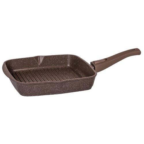 Сковорода-гриль Мечта Гранит 28х28 см, съемная ручка, гранит brown