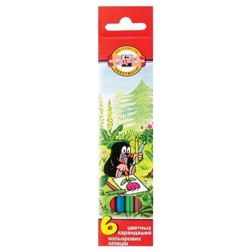 KOH-I-NOOR Карандаши цветные Крот, 6 цветов (3651006026KSRV) карандаши цветные koh i noor birds 3553018001ksru шестигран 18цв коробка европод