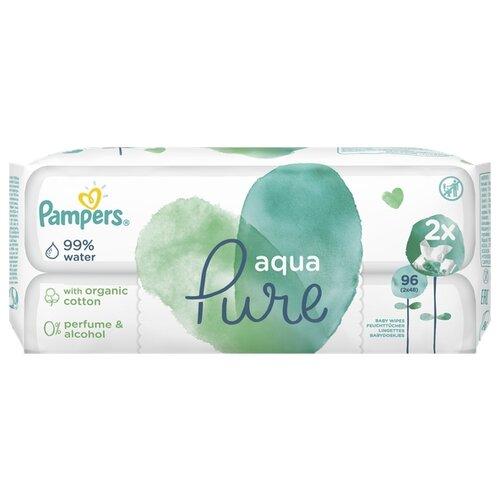 Купить Влажные салфетки Pampers Aqua Pure пластиковая крышка 96 шт.