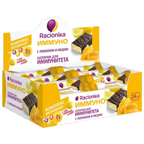 Протеиновый батончик Racionika Иммуно в шоколадной глазури Лимон с медом, 24 шт
