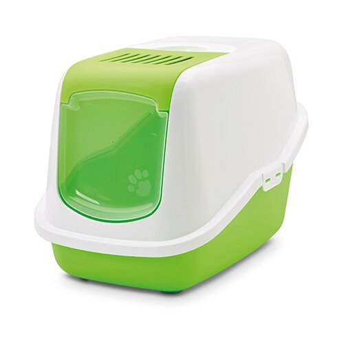 Туалет-домик для кошек SAVIC Nestor 56х39х38.5 см белый/зеленый 1 шт.